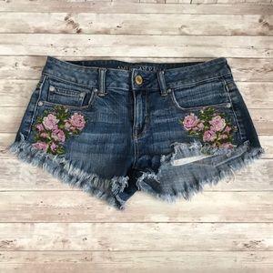 American Eagle embroidered floral denim shorts